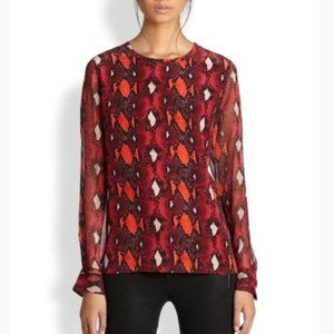 Equipment Silk Snake Skin Liam Top in Persian Red